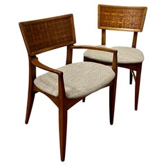 Pair American Mid Century Atomic Age Walnut Dining Chairs 1 Captain Chair
