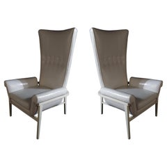 Pair American Modern High Back White Matte Lacquer Lounge Chairs, James Mont