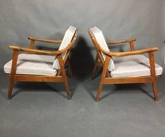 Pair American Modern Walnut Lounge Chairs, 1960s