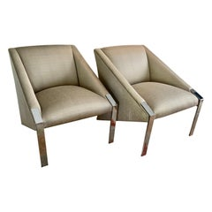 Pair Andree Putman Chrome Modern Lounge Side Chairs in Silk Upholstery