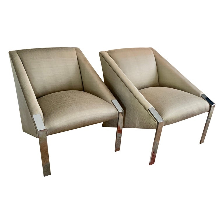 Pair Andree Putman Chrome Modern Lounge Side Chairs in Silk Upholstery For Sale
