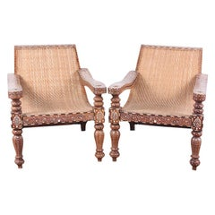 Pair of Anglo-Indian Inlaid Teak Plantation Chairs