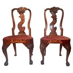 Pair Antique 18th Century Dutch Marquetry Queen Anne Side Chairs Circa 1710-1730