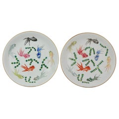 Pair of Antique Chinese Porcelain Plates Goldfishes Qianlong Marked