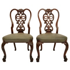 Pair Antique 19th Century Carved Mahogany Georgian Chippendale Side Chairs, 1880