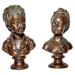 Pair Antique 19th Century French Bronze Portrait Busts of Children after Houdon