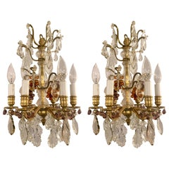 Pair of 19th Century French Gold Bronze Clear and Colored Crystal Chandeliers