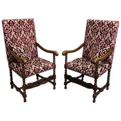 Pair of Antique 19th Century French Louis XIII Armchairs