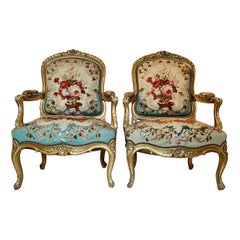 "Pair Antique 19th Century French Restoration Aubusson ""Fauteuils"" or Armchairs"