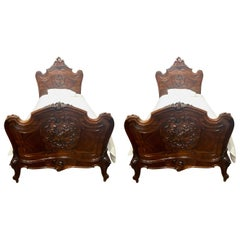 Pair of Antique 19th Century French Rosewood Twin Beds, circa 1880