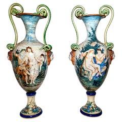 "Pair Antique 19th Century Italian ""Majolica"" Porcelain Urns Mythological Scenes"