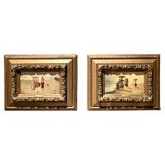 Pair Antique 19th Century Italian Oil on Panel 'Seaside' Paintings by C. Ciotta