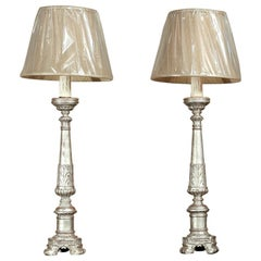Pair of Antique 19th Century Italian Silver Leaf Altar Candlestick Lamps
