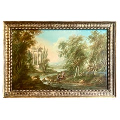 Pair Antique 19th Century Oil on Wood Panel Classical Ruins Landscape Paintings
