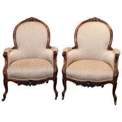 Pair of Antique American Bergeres