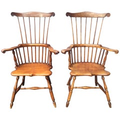 Pair of Antique American Maple Windsor Chairs