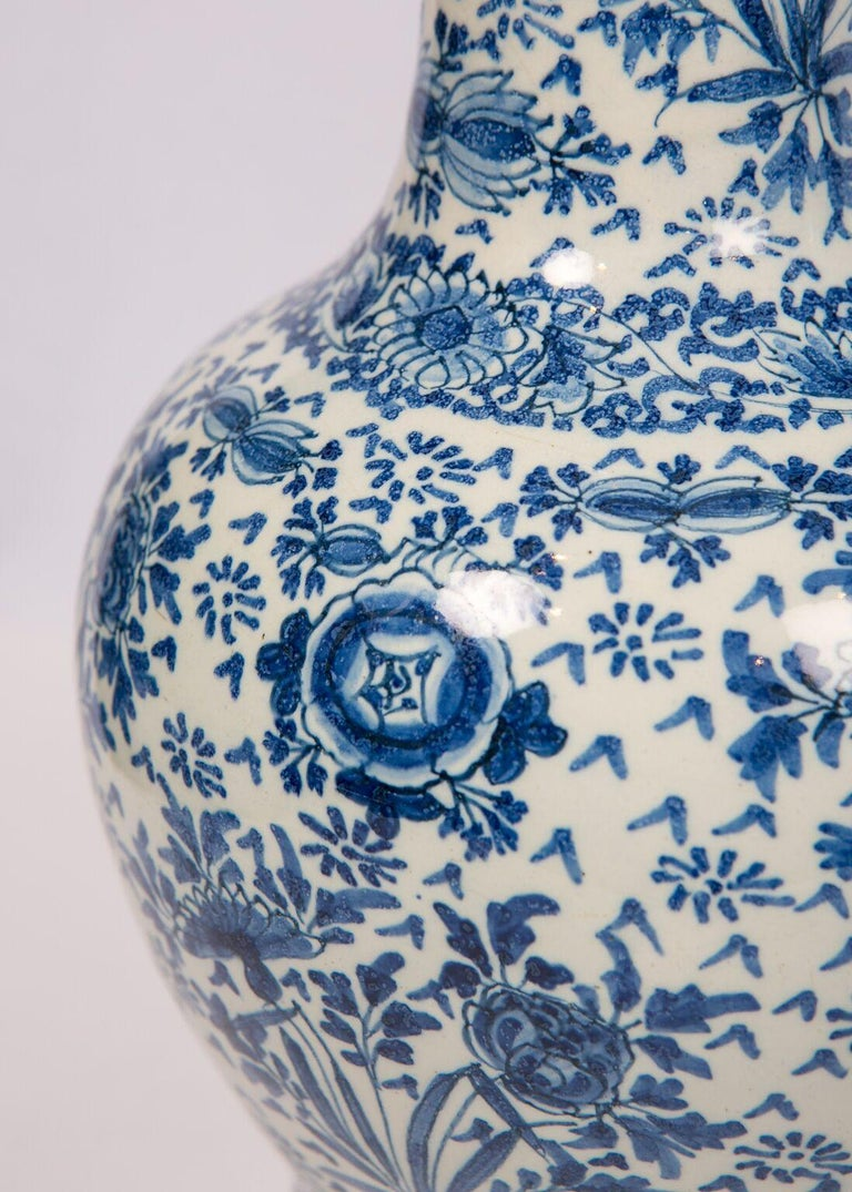 Rococo Pair of Antique Blue and White Delft Vases Mid 18th Century For Sale