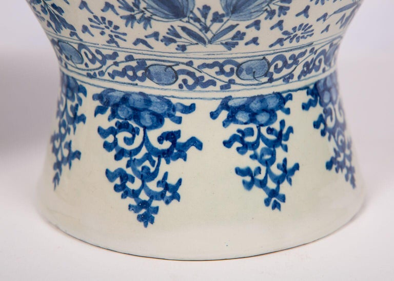 Dutch Pair of Antique Blue and White Delft Vases Mid 18th Century For Sale