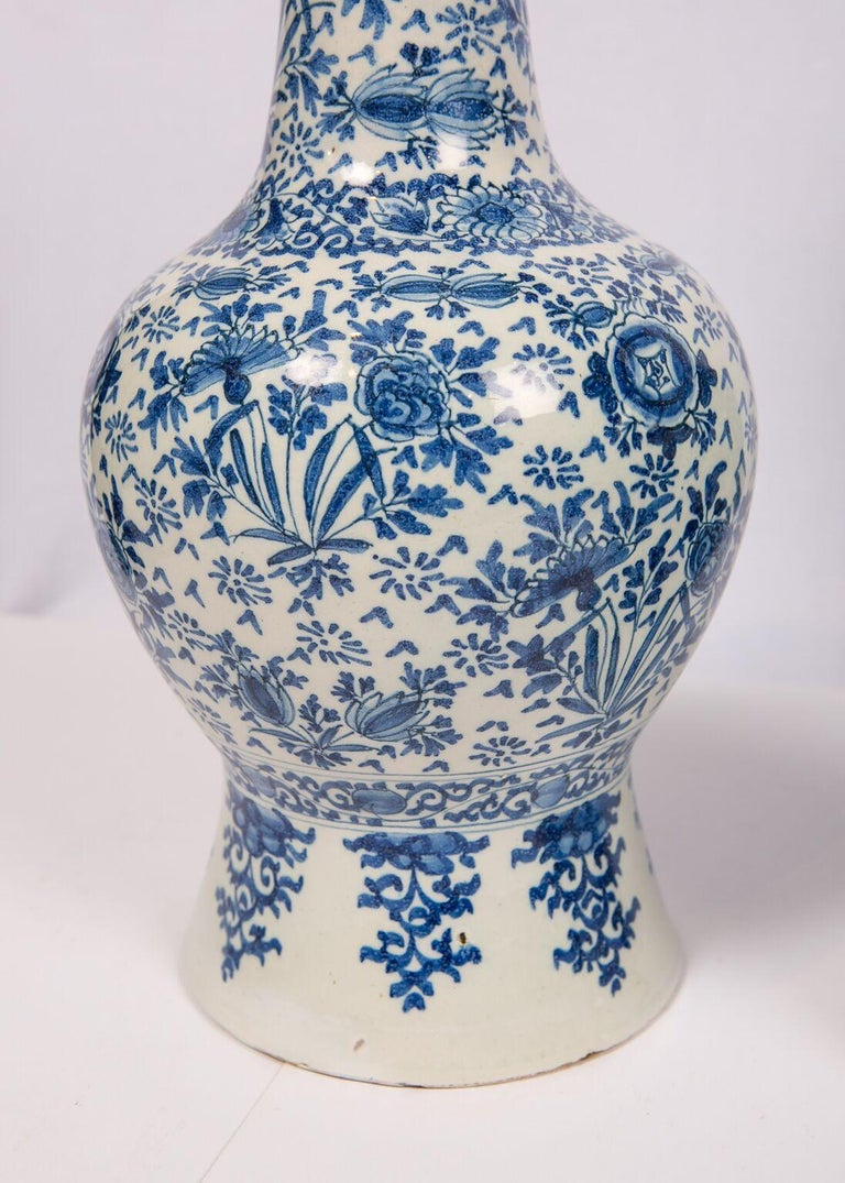 18th Century and Earlier Pair of Antique Blue and White Delft Vases Mid 18th Century For Sale