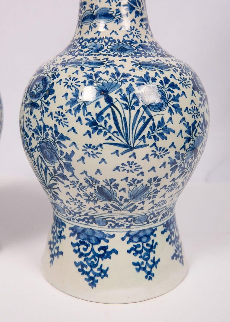 Pair of Antique Blue and White Delft Vases Mid 18th Century For Sale 1