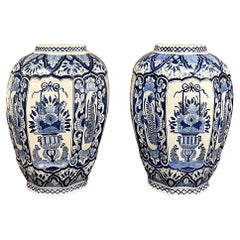 Pair Antique Boch Blue & White Hand-Painted Vases