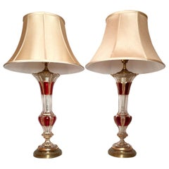 Pair Antique Bohemian Crystal Glass Lamps, Ruby w/ Gold Detail, Circa 1890-1910