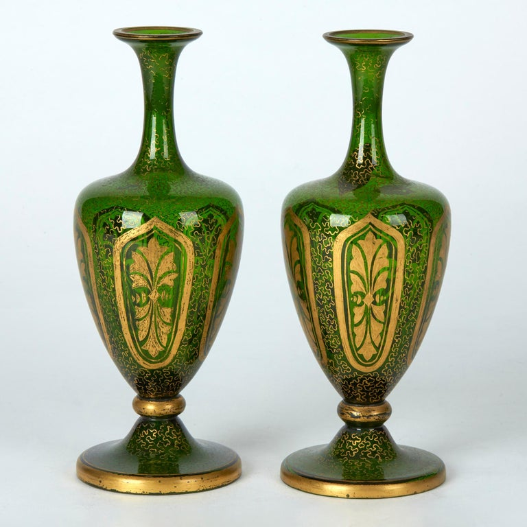 Czech Pair of Antique Bohemian Gilded Green Glass Vases, 19th Century