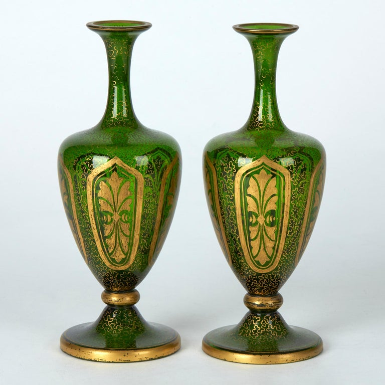 Other Pair of Antique Bohemian Gilded Green Glass Vases, 19th Century