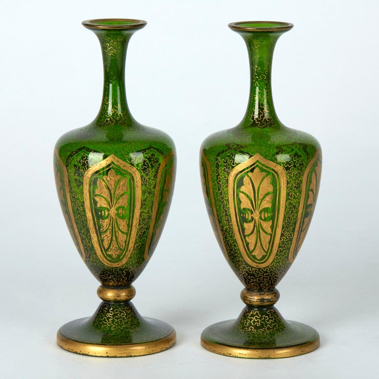 Pair of Antique Bohemian Gilded Green Glass Vases, 19th Century In Good Condition In Bishop's Stortford, Hertfordshire