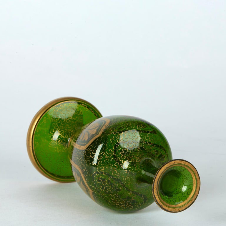 Pair of Antique Bohemian Gilded Green Glass Vases, 19th Century 1
