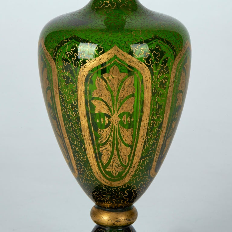 Pair of Antique Bohemian Gilded Green Glass Vases, 19th Century 3