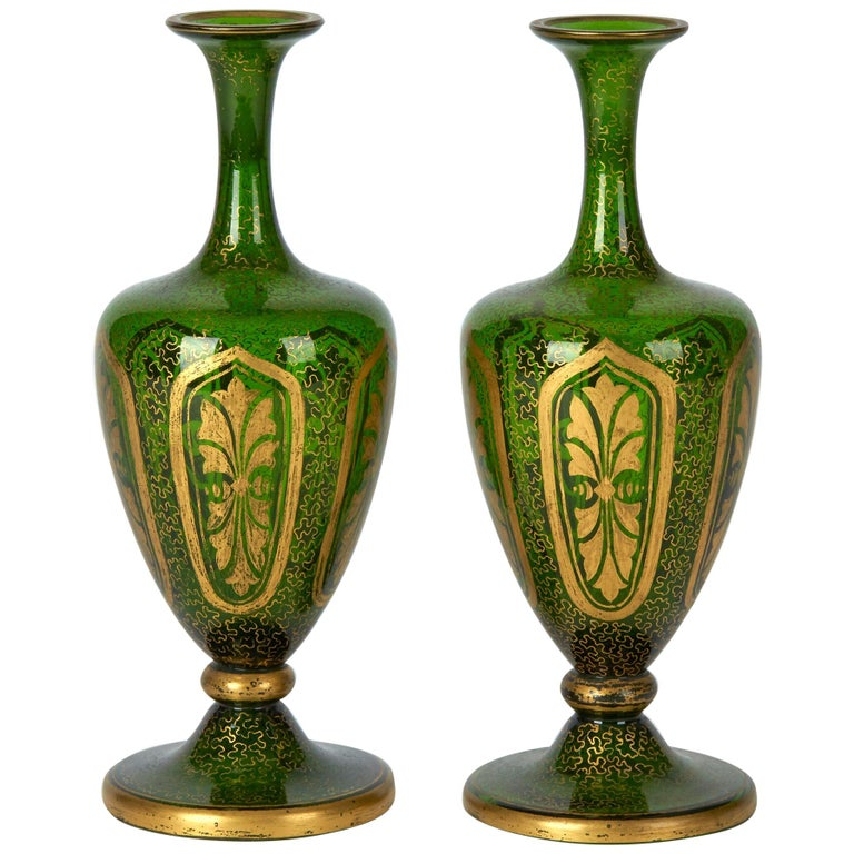 Pair of Antique Bohemian Gilded Green Glass Vases, 19th Century