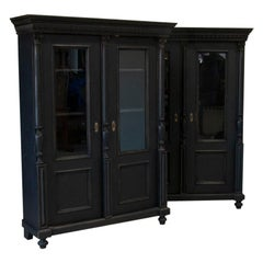 Pair, Antique Bookcase Cabinet from Sweden with Black Painted Finish and Adjusta