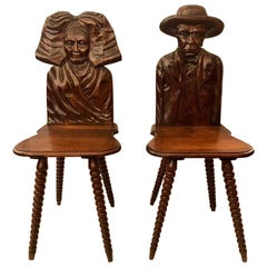 Pair Antique Brittany Carved Walnut Chairs, Circa 1880-1890.
