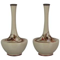 Pair Antique Bronze Dragon Vases Cloisonné Japan 19th c Edo or Meiji