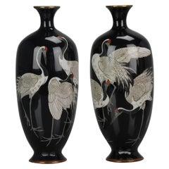Pair of Antique Bronze Vases Cloisonné Hayashi Chuzo of Aichi Japan Meiji