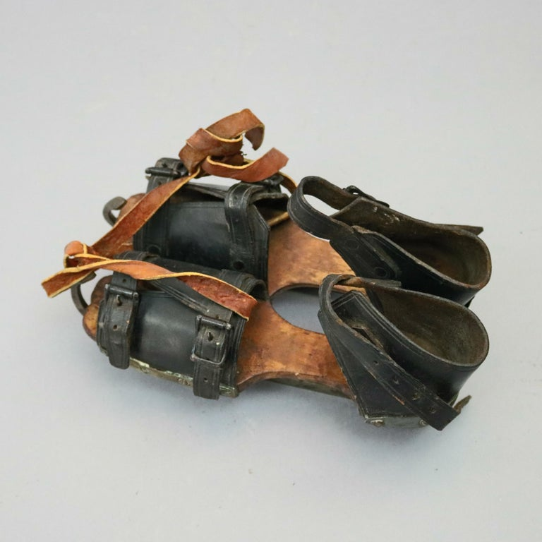 Pair of Antique Buckled Leather and Wood Ice Skates, 19th Century For Sale 6