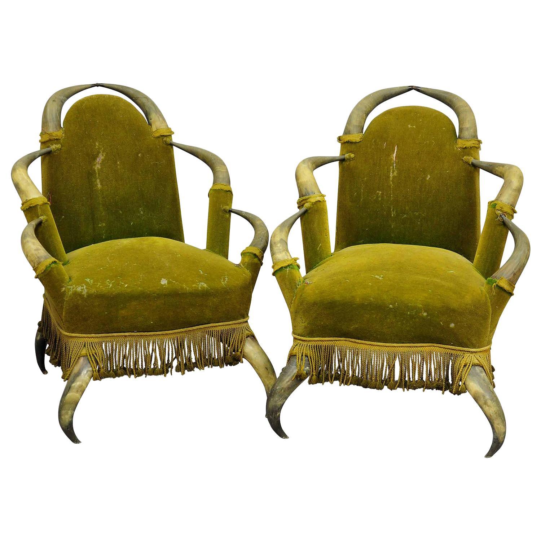 Pair Antique Bull Horn Chairs Austria, 1870
