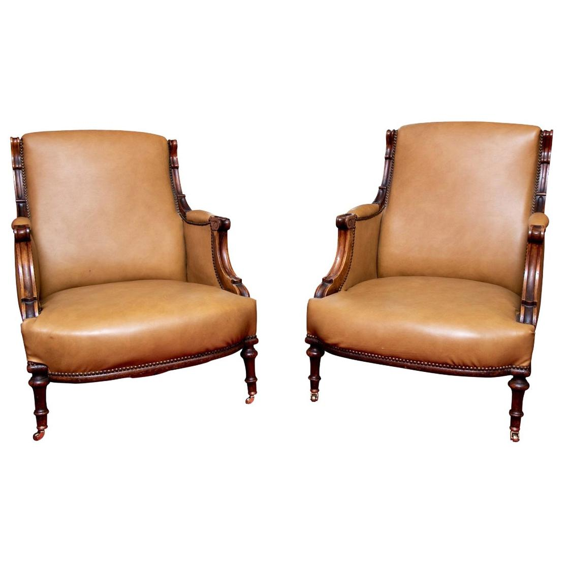Pair Antique Carved Leather Upholstered Club Chairs