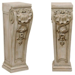 Pair Antique Carved-Wood Pedestals in Shell, Foliage, & Volute Motif