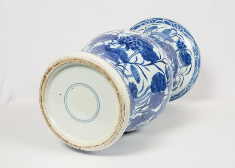 Pair of Antique Chinese Blue and White Porcelain Vases Qing Dynasty 19th Century For Sale 9