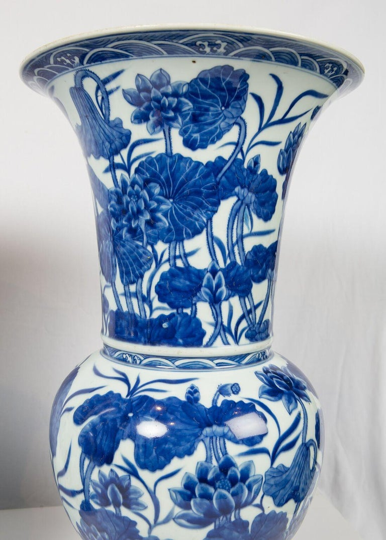 Pair of Antique Chinese Blue and White Porcelain Vases Qing Dynasty 19th Century In Excellent Condition For Sale In New York, NY