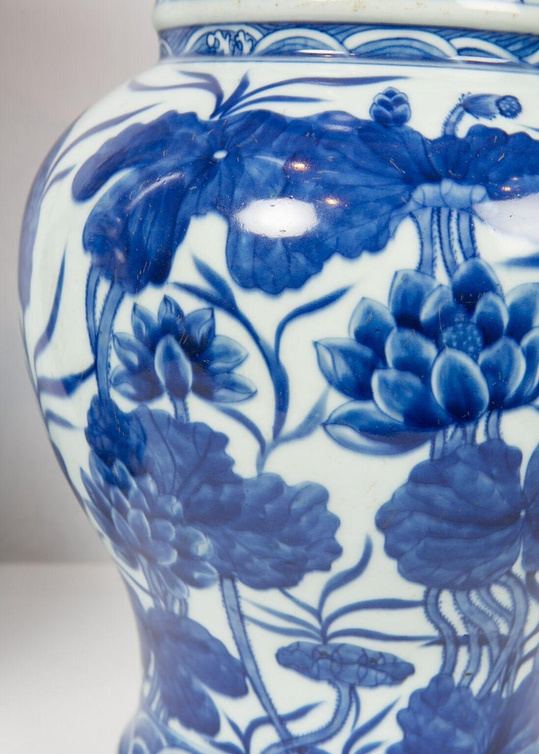 Pair of Antique Chinese Blue and White Porcelain Vases Qing Dynasty 19th Century For Sale 4