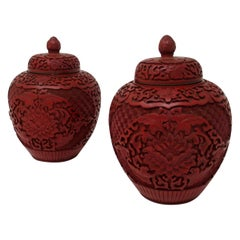 Pair of Antique Chinese Carved Cinnabar Bowls Ginger Jars Guangxu, 19th Century