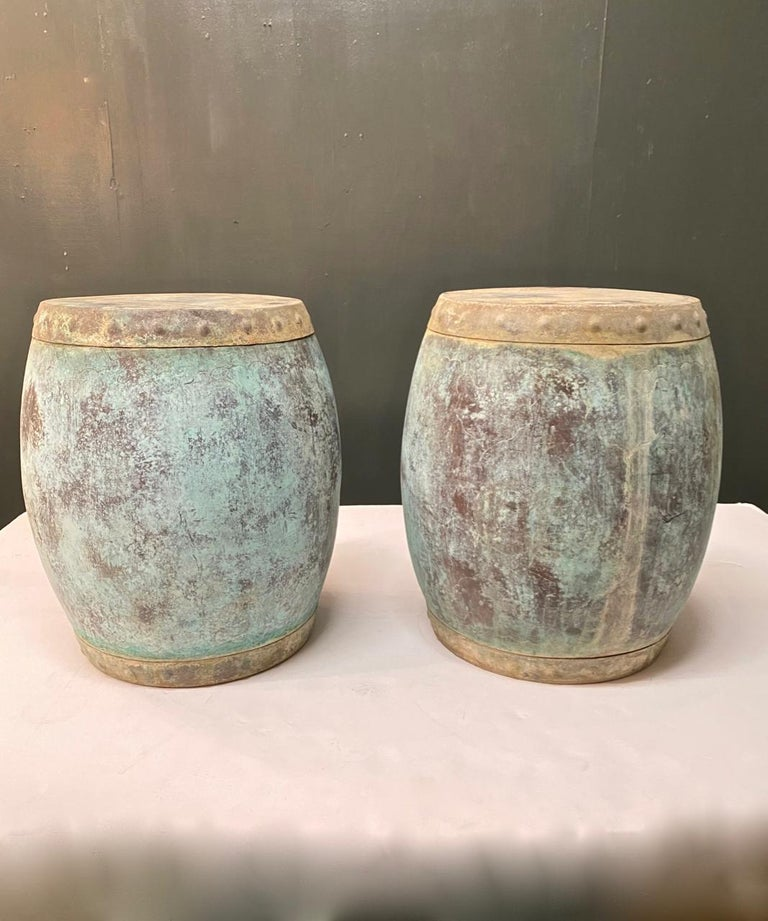 Pair of Antique Chinese Copper Rice Barrels-Garden Seats For Sale 3