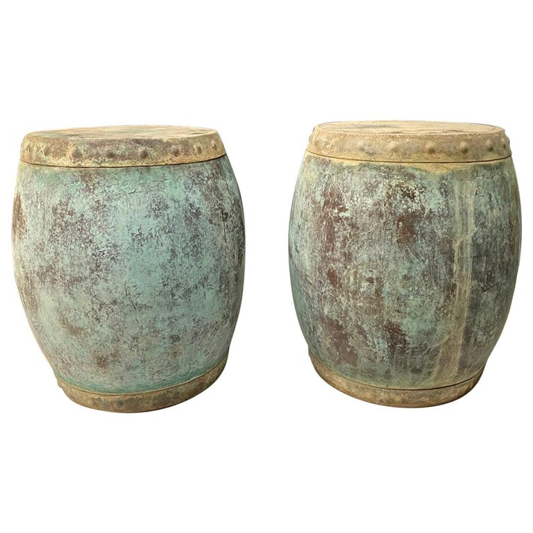 Pair of Antique Chinese Copper Rice Barrels-Garden Seats For Sale
