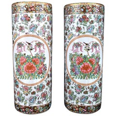 Pair of Chinese Famille Rose Porcelain Umbrella Stands Republic Period 1920