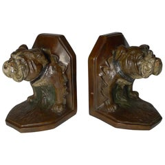 Pair of Antique Cold Painted Bronze Bookends, Bulldog, circa 1900