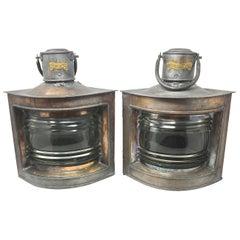 Pair of Antique Copper Clad Tin Ship's Lanterns, circa 1940