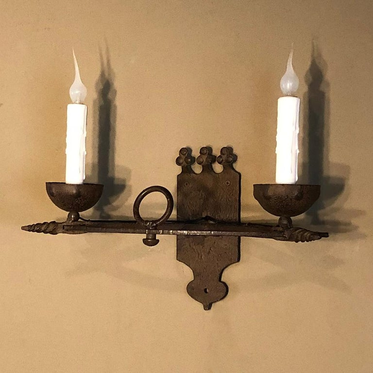 Pair of Antique Country French Wrought Iron Wall Sconces For Sale 2